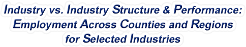 West Virginia - Industry vs. Industry Structure & Performance: Employment Across Counties and Regions for Selected Industries